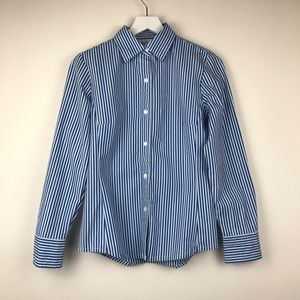 CAbi Blue & White Striped Button Down Shirt
